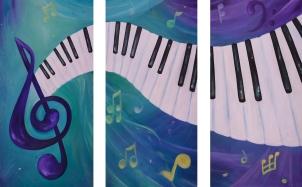 Piano Music three piece acrylic painting